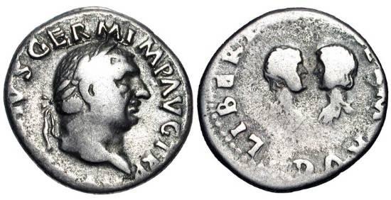 Ancient Coins - VITELLIUS AND HIS CHILDREN, 69 AD.  AR Denarius (3.17 gm).  Laureate bust of Vitellius / confronted busts of Vitellius's son and daughter.  RIC.101(R).  Toned aVF. Rare.