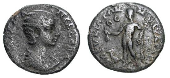 Ancient Coins - CLICIA, CORYCUS.  Julia Manaea, Mother of Severus Alexander.   Æ 29 (10.18 gm).  Draped bust / Hermes standing holding purse and cadeucus, ram at feet.  aVF, green brown patina.