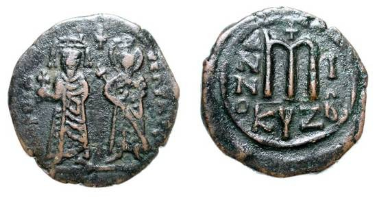 Ancient Coins - BYZANTINE EMPIRE.  Phocas, 602-610 AD.  Æ Follis (11.18 gm) of Kyzikos, yr. 1.  Phocas and Leontia standing / Large M.  S.664.  VF, brown black patina.  Scarce.