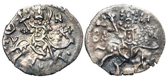 Ancient Coins - TREBIZOND.  Basil, 1332-1340 AD.  AR Asper (1.77 gm).  St. Eugenios on horseback / Basil on horseback.  S.2622.  Toned  VF+, usual weak areas.