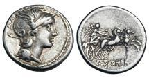 Ancient Coins - ROMAN REPUBLIC.  C. Claudius Pulcher, 110-109 BC.  AR Denarius.