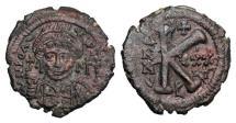 Ancient Coins - BYZANTINE EMPIRE.  Justinian I, 527-565 AD.  Æ Half Follis.
