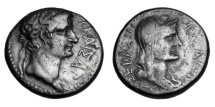 MACEDONIA, Thessaloniki.  Tiberius & Livia, 14-37 AD.  AE23.  Rare.