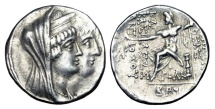 Ancient Coins - SELEUKID KINGDOM.  Cleopatra Thea and Antiochos VIII, 125-121 BC.  Tetradrachm …