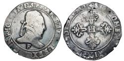 World Coins - FRANCE.  Henri III, 1574-1589 AD.  AR Franc au col plat …