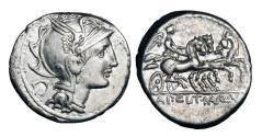 Ancient Coins - ROMAN REPUBLIC.  Appius Claudius Pulcher, 111-110 BC.  AR Denarius.