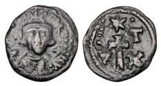 Ancient Coins - BYZANTINE EMPIRE.  Constans II, 641-668 AD.  Æ Half Follis.