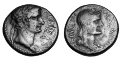 Ancient Coins - MACEDONIA, Thessaloniki.  Tiberius & Livia, 14-37 AD.  AE23.  Rare.