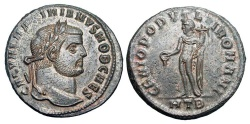 Ancient Coins - MAXIMINUS II DAZA, 305-313 AD. Æ Follis, Heraklea, 305-6.  Laureate head / Genius standing holding patera and cornucopia. RIC.26b. Near Mint, brown patina, some toned silvering.  …
