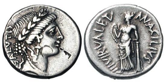 Ancient Coins - ROMAN REPUBLIC.  Man. Acilius Glabrio, 49 BC.  AR Denarius.  Wreathed head of Salus / Valetudo (Salus) standing.  Cr.442/1a.  Acilia.8.  Toned VF+, bankers' marks on obv.  Scarce.