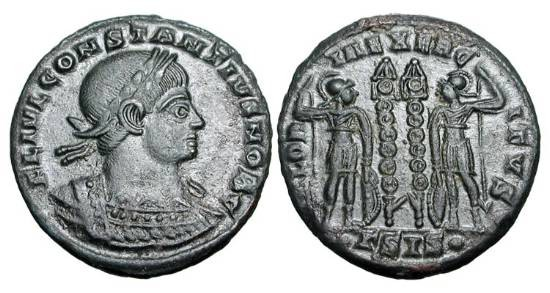 Ancient Coins - CONSTANTIUS II, 337-361 AD.  Æ 3 (2.65 gm) of Siscia.  Laureate cuirassed bust / Two soldiers standing with two standards.  RIC.237.  Near Mint, green-black patina.