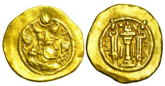 Ancient Coins - SASANIANEMPIRE.  Peroz I, 459-484 AD.  Gold Dinar (3.69 gm) of Balkh.   Crowned bust of king / Fire-altar between standing priests.   Göbl.172v.  VF+. Rare.