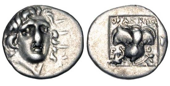 Ancient Coins - RHODES.  166-88 BC.  AR Hemidrachm (1.33 gm).  Head of Helios three-quarters facing / Rose in incuse square.  SNG.Fin.643.  Toned VF+.