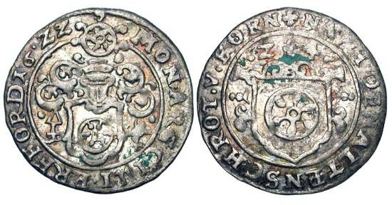 World Coins - GERMANY, Erfurt.  1622 AD. AR Groschen (2.00 gm).  Shield of arms under helmet / Shield of arms.  KM.40.  Toned VF+.