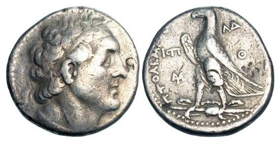 Ancient Coins - PTOLEMAIC KINGDOM.  Ptolemy II Philadeplhos, 285-246 BC.  AR Tetradrachm (13.70 gm) of Joppa 252/1 BC.  Bust of Ptolemy I / Eagle standing.   SNG.Cop.464.  Toned VF, light b/m.   …