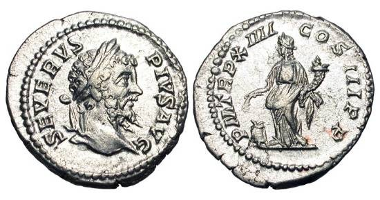 Ancient Coins - SEPTIMIUS SEVERUS, 193-211 AD.  AR Denarius (3.75 gm), Rome 206 AD.  Laureate head / Annona standing holding cornucopia and grain ears over modius.  RIC.200.  RSC.476.  XF