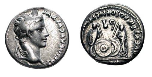 Ancient Coins - AUGUSTUS, 27 BC-14 AD.  AR Denarius  of Lugdunum after 2 BC.  Laureate head / Caius and Lucius Caesars standing facing with shields and spears, simpulum and lituus above.  RSC.43.