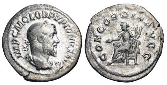 Ancient Coins - PUPIENUS, 238 AD.  AR Denarius (2.79 gm).  Laureate draped bust / Concordia seated with patera and cornucopiae.    RIC.1(S).  Toned VF.  Scarce.