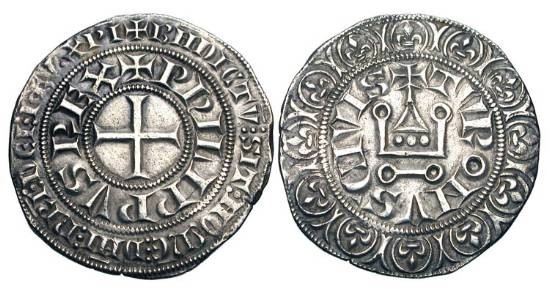 World Coins - FRANCE.  Philippe IV le Bel, 1285-1314 AD.  AR Gros tournois a l'O rond (4.07 gm), 1285-90.  Cross / Châtel tournois.  DuP.213.  Toned VF+.