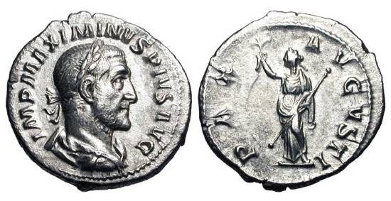 Ancient Coins - MAXIMINUS I THRAX, 235-238 AD.  AR Denarius (3.00 gm).  Laureate draped bust / Pax standing holding branch and sceptre.  RSC.31a. RIC.12.  XF.