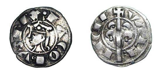 World Coins - SPAIN, Valencia.  Jaime I, 1238-1276 AD.  AR Dinero (1.02 gm). Crowned head / Tree.  Crus.316.  Toned VF.