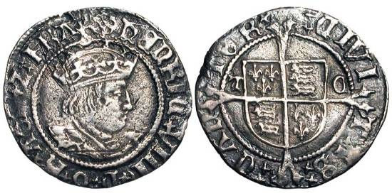 World Coins - ENGLAND.  Henry VIII, 1509-1547 AD.  AR Halfgroat, Second coinage, i. m. Catherine-wheel, Abp. Cranmer, of Canterbury.  Crowned bust / Shield of arms on long cross.  S.2345.