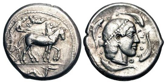 Ancient Coins - SICILY, Syracuse.  Second Democracy, 465-405 BC.  AR Tetradrachm.  Slow quadriga, Nike above, Ketos below / Head of Arethusa wearing pearl diadem, four dolphins swimming around.