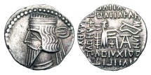 Ancient Coins - PARTHIA.  Vologases III, 105-147 AD.  AR Drachm (3.73 gm).  Diademed draped bust / Archer enthroned holding bow.  Sellwood.78.3.   Shore.413.  Toned aXF.