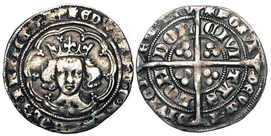 World Coins - ENGLAND.  Edward III, 1327-1377 AD.  AR Groat of London, class G, 1356-1361 AD.  IM Cross-3.  Crowned bust facing in tressure, annulet  below / Long cross.  S.1570.  Toned VF.
