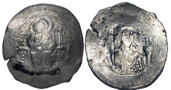Ancient Coins - BYZANTINE EMPIRE.  Alexios I, 1081-1118 AD.  Billon Aspron Trachy (3.24 gm) of Constantinople.  Christ enthroned / Facing bust of emperor.  S.1918.  VF, good silver, flan crack.