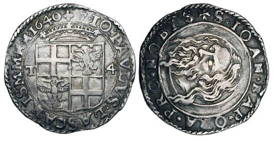 World Coins - MALTA, Knights of St. John of the Hospital.  John Paul de Lascaris, 1636-1657 AD.  AR 4 Tari, 1640.  Shield of arms / Head of the Baptist on charger.  Sch.8.  Toned VF+.  …