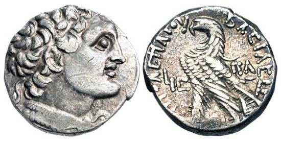 Ancient Coins - PTOLEMAIC KINGDOM.  Ptolemy XII, 80-51 BC.  AR Tetradrachm (14.20 gm) of Alexandria, yr.16 (66/65 BC).  Diademed head of Ptolemy I / Eagle standing.  SNG.Cop.387.  Toned VF+.