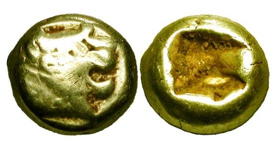 Ancient Coins - KINGDOM OF LYDIA.  Alyattes II (before Kroisos), 650-561 BC.  Electrum Twelfth (1.17 gm).  Lion head with wart-nose / Incuse punch.  Weid.79-85.  aVF.