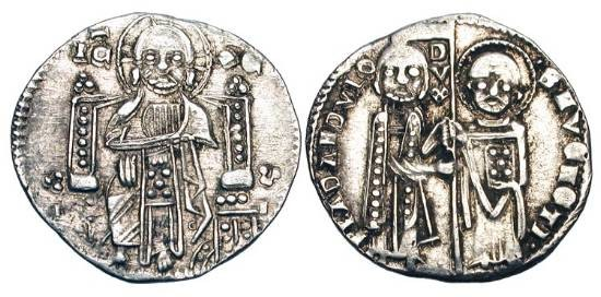 World Coins - ITALY, Venice.  Francesco Dandulo, 1329-1339 AD.  AR Grosso (2.16 gm).  Saint Mark and the Doge standing, holding flag / Christ enthroned facing.  Paol.27.2.  Toned VF.