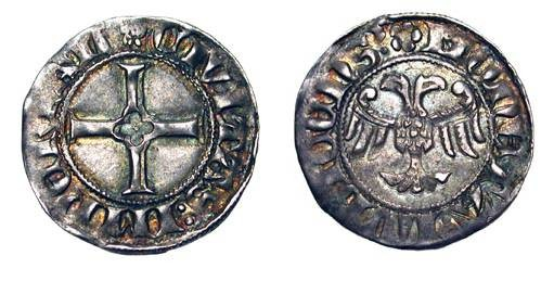 World Coins - GERMANY, Lübeck.  AR Witten (1.32 gm) XIV Cetury AD.  Cross / Imperial eagle.  Saur.3483.  Nicely toned  aXF.
