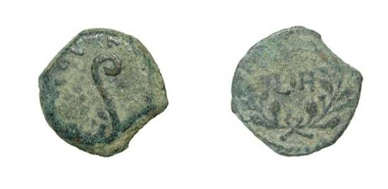 Ancient Coins - JUDEA, Procurators.  Pontius Pilatus, 26-36 AD.  Æ Prutah (1.95 gm) 31/32 AD.  Lituus / Date (LIH) in wreath.  H.650.  aVF, dark green patina.