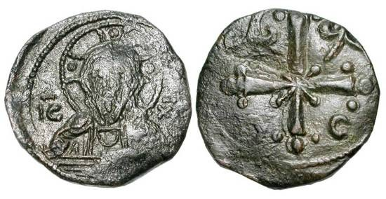 "Ancient Coins - BYZANTINE EMPIRE.  Nikephoros III 1078-1081 AD.  Æ ""Anonymous"" Follis, Class I, of Constantinople   Bust of Christ / Cross on floreate base.  S.1889.   VF/aXF, green patina."