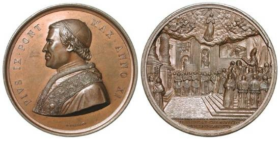 World Coins - ITALY, Papal States.  Pius IX Mastai-Ferreti, 1846-1878 AD.  Æ 43 Medal by Bianchi, 1854.  Capped robed bust / Scene of the proclamation of the dogma of the Immaculate Conception.