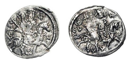 Ancient Coins - TREBIZOND EMPIRE.  Alexios II, 1297-1330 AD.  AR Asper (2.10 gm).  St. Eugenios on horseback  / Alexios on horseback.  S.2619.  R.46.  VF+, weak spots.
