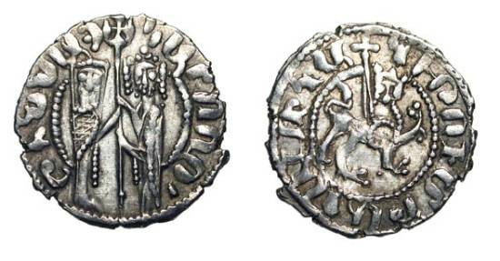 World Coins - CILICIAN ARMENIA.  Hetoum and Zabel, 1216-1270 AD.  AR Tram (2.85 gm).  King and queen standing / Lion and cross.  Ner.340.  VF+.
