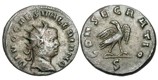 Ancient Coins - VALERIAN II, d. 255 AD.  Billon Antoninianus (3.44 gm), posthumous issue, 256-8.  Radiate draped bust / Eagle standing.  RIC.27(S).  Toned VF.