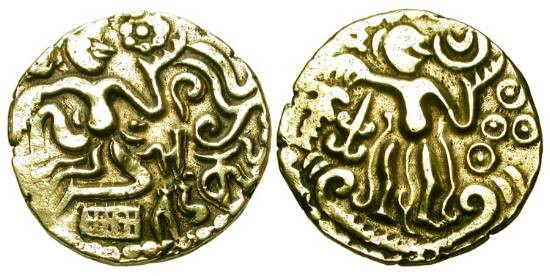 World Coins - CEYLON, Cholas.  980-1070 AD.  Pale Gold Kahavanu (4.31 gm).  Man seated on ground holding lotus / King enthroned holding sceptre.  M.825v.  VF+.  …