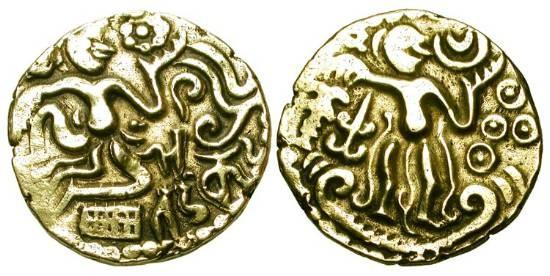World Coins - CEYLON, Cholas.  980-1070 AD.  Pale Gold Kahavanu (4.31 gm).  Man seated on ground holding lotus / King enthroned holding sceptre.  M.825v.  VF+.  …