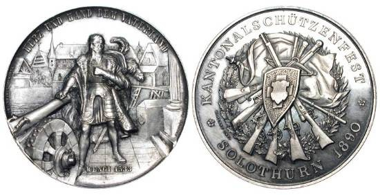 World Coins - SWITZERLAND, Solothurn.  1890 AD.  AR Shooting Medal, Cantonal Shooting-fest, 1890, by H. Bovy.  Capt. Wengt standing in armour by cannon / Shield of arms with crossbow and rifles.