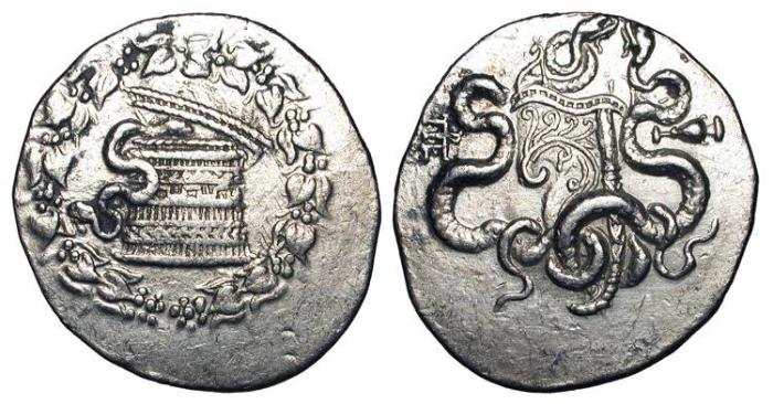 Ancient Coins - MYSIA, Pergamon. 166-67 BC.  AR Cistophoric Tetradrachm (12.39 gm).  Cysta mystica / Serpents around bow-case, amphora.  K&N.17c.  Toned XF.