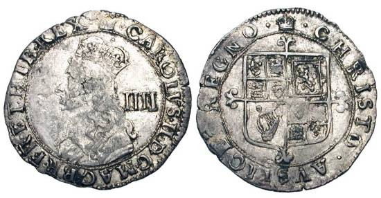 World Coins - ENGLAND.  Charles II, 1660-1685 AD.  AR Groat (1.88 gm), final hammered coinage issue.  Crowned bust / Arms.  S.3324.  Toned VF. Scarce.