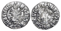 World Coins - CILICIAN ARMENIA.  Levon I, 1198-1219 AD.  AR Tram (2.95 gm).  King enthroned holding cross and fleur de lys / Two lions flanking cross.  Nec.286.  XF.