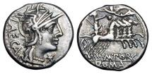 Ancient Coins - ROMAN REPUBLIC.  M. Porcius Laeca, 125 BC.  AR Denarius.