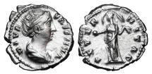 Ancient Coins - FAUSTINA I, wife of Antoninus Pius, d. 141 AD.  AR Denarius.