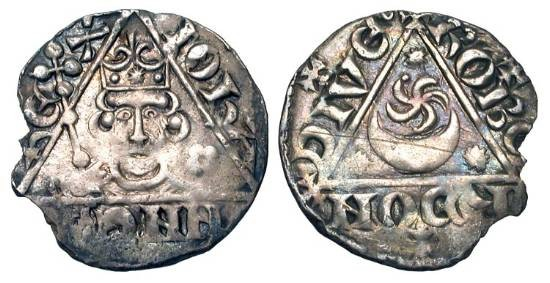 World Coins - IRELAND.  John, as King, 1199-1216 AD.  AR Penny (1.31 gm) of Dublin, ROBERD.  Facing bust in triangle / Sun, stars and crescent in triangle.  S.6228.  Toned VF, ragged flan.